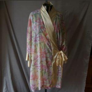 Victoria Secret Short Robe Tie Front Floral Sheer
